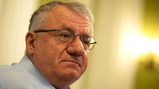 In this photograph taken on March 29, 2018, Serbian Radical Party leader, Vojislav Seselj speaks during an interview with AFP in Belgrade.