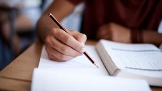 School pupil in exam