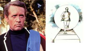 A drawing of the planned statue (right) shows Patrick McGoohan's character being chased by the show's Rover balloon