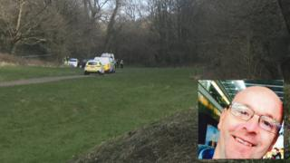Police in Porthkerry County Park and an inset picture of Christopher Parsons