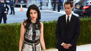 Huma Abedin and Anthony Weiner arrive at a benefit gala in New York City