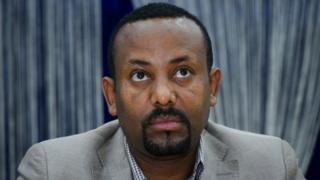 """The leader of the """"Oromo Peoples Democratic Organization"""" (OPDO) Abiy Ahmed looks on during a news conference in Aba Geda, Ethiopia, 02 November 2017"""