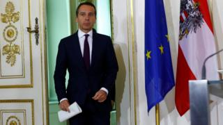 Austrian Chancellor Christian Kern arrives for a news conference in Vienna