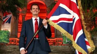 Andy Murray serving as flag bearer for Team GB