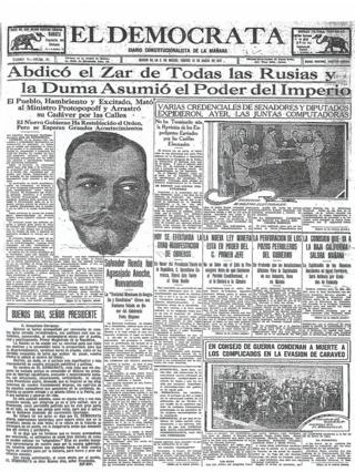 Мексиканская газета El Democrata - 16 марта 1917 год