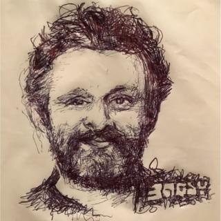 A drawing of Michael Sheen on a carrier bag