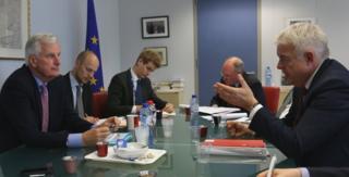 Michel Barnier and Carwyn Jones