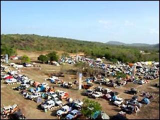 Cars gather for the Latin America 4 x 4 Fun Race