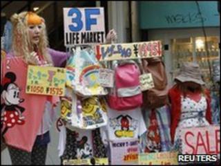 A sales woman at a Tokyo clothes shop