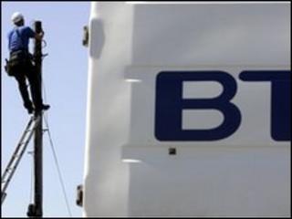 BT worker up a telegraph pole