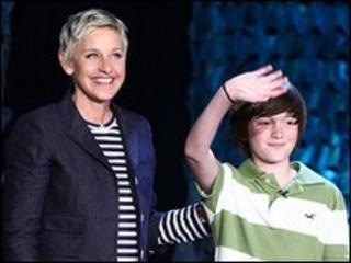 Ellen DeGeneres and Greyson Chance