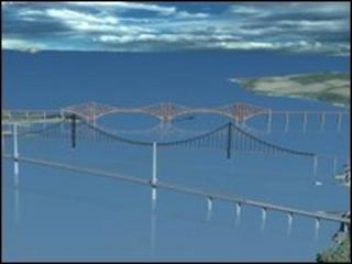 Computer generated image of the Firth of Forth including new crossing