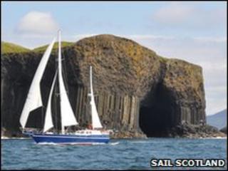 Yacht at Staffa, Inner Hebrides