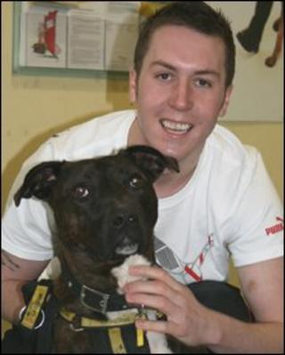 Jamie Kerr and dog at Dogs Trust Centre Glasgow