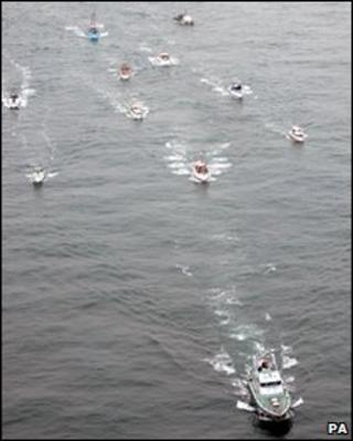 """The """"little ships"""" flotilla on its way to Dunkirk"""