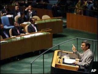 Iranian President Mahmoud Ahmadinejad at the NPT review conference on 3 May 2010