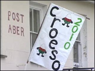 Croeso - or welcome in Welsh - sign