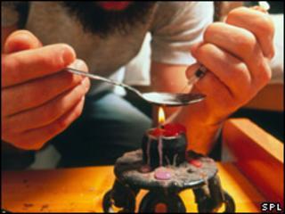 Man preparing heroin