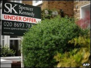 Estate agent's sign outside a house