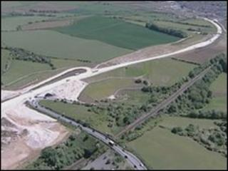 The Weymouth to Dorchester relief road under construction