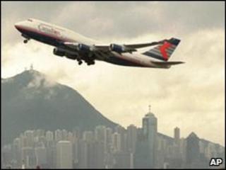 Plane taking off over Hong Kong