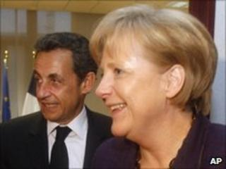 French President Nicolas Sarkozy and German Chancellor Angela Merkel, 7 May 10