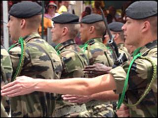 Soldiers from a French contingent parade on 4 April 2010 in Dakar as Senegal marked 50 years of independence