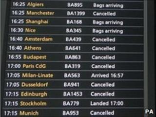 Arrivals board at Heathrow Terminal 5 on 24 May