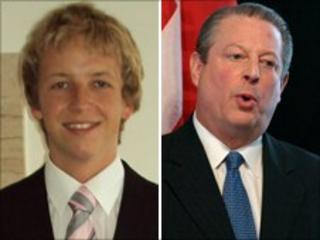 Swansea student Rhys Hughes and former US vice-president Al Gore