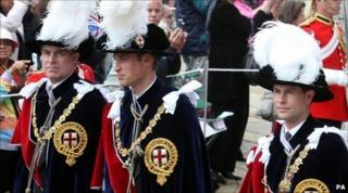 (L-r) The Duke of York, Prince William and the Earl of Wessex during the procession of the Order of the Garter in Windsor