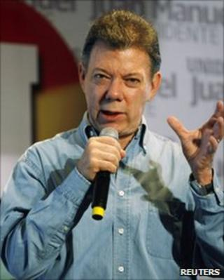 Juan Manuel Santos during the election campaign