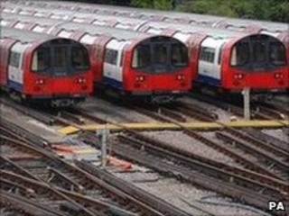 Tube trains in a depot