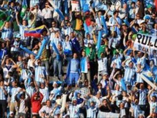 Argentina supporters at Nigeria game in Johannesburg, 12 June 2010