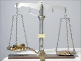 scales with gold jewellery