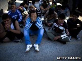 Afghan migrants in Lesbos, Greece, 1 May 2010