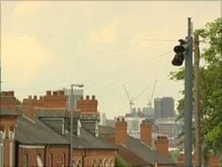 Street scene showing the surveillance cameras