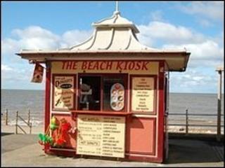 Beach kiosk on the promenade in Blackpool