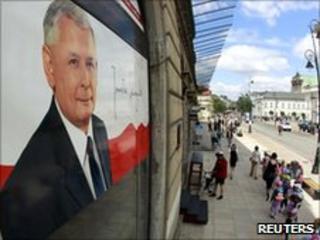 An election poster of Jaroslaw Kaczynski seen in Warsaw on 16 June 2010