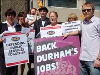 Union members demonstrating outside Durham's passport office