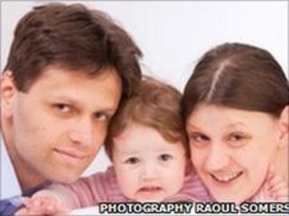 Mirko Fischer, his wife Stefanie and daughter Sophia