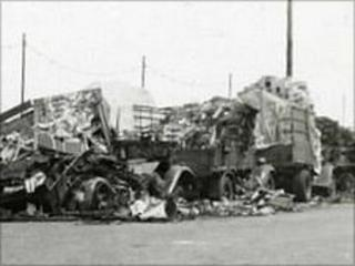 Tomato lorries damaged in the bombing of St Peter Port Harbour on 28 June 1940