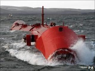 Wave-power generator being tested