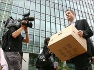 Lehman Brothers employee clears his desk during the financial crisis