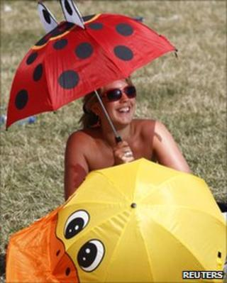 Woman sheltering from the sun under two umbrellas at Glastonbury festival 2010