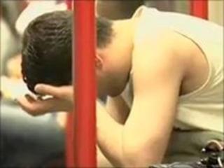 A passenger on a hot Tube train
