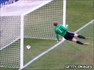 England's second goal which was disallowed