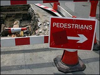 Roadworks sign