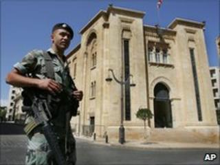 Armed Soldier at the Lebanese Parliament (file)