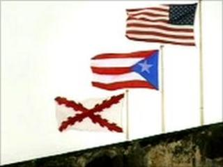 Flags fluttering in Puerto Rico