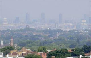 Hazy London skyline